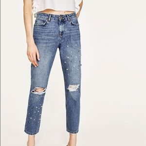 Zara: straight jeans with pearl detailing